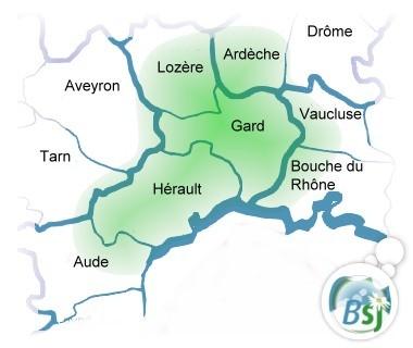 Carte des départements du sud de la France, centrée sur le gard